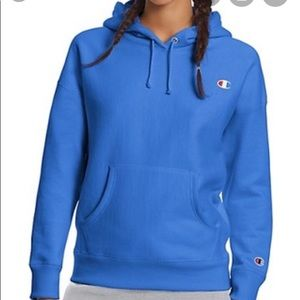 Blue champion reverse weave hoodie